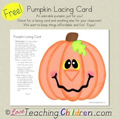 Pumpkin lacing card thumb