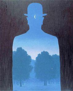 mostlyoujustmakememad:  Forse un mattino andando in un'aria di vetro,  arida, rivolgendomi, vedrò compirsi il miracolo:  il nulla alle mie spalle, il vuoto dietro  di me, con un terrore di ubriaco.  Poi come s'uno schermo, s'accamperanno di gitto  alberi case colli per l'inganno consueto.  Ma sarà troppo tardi; ed io me n'andrò zitto  tra gli uomini che non si voltano, col mio segreto.  Forse un mattino andando in un'aria di vetro, Eugenio Montale Magritte(1964)