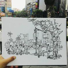 #murmur #vscocam #urbansketch #urbansketchers #moleskine #sketchbook #sketch…