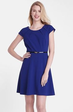 Tahari Belted Crepe Fit Flare Dress Regular Pee Available At