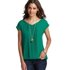 Pleated Woven Front Short Sleeve Top