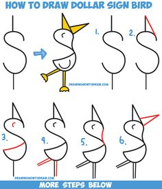 How to Draw a Cute Cartoon Bird / Duck from a Dollar Sign - Easy Step by Step Drawing Tutorial for Kids