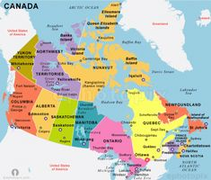 Canada Independence 1867 from the Union of British North American Colonies and 1931 recognized by the UK per statute of Westminister Toronto Canada, Canada Eh, Ottawa, Alberta Canada, States Of Canada, Quebec, Calgary, Ellesmere Island, Geography Map