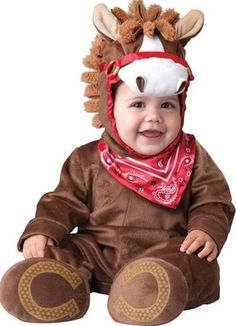 Baby costume new for Halloween 2016 gorgeous brown horse costume. Great for western or farm themes! #babycostumes #halloweenbabycostume