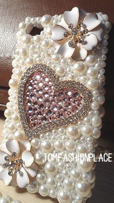 Sweet heart case bling bling pearl crystal case pearl flower iphone 4 case iphone 4s case iphone 5 case samsung case
