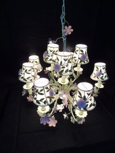 Painted Tole Chandelier Shabby Elegance Floral Embroidered