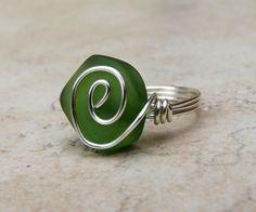 Bottle Green Sea Glass Ring  Silver Swirl Wire by SherryKayDesigns, $18.00