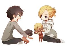 Eren and Annie playing with their respective Titan dolls.