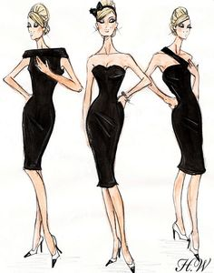 hayden williams, fashion illustration, barbie, little black dress