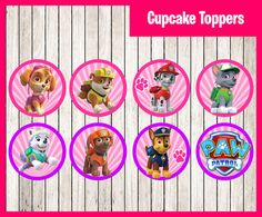Paw patrol Pink Cupcakes Toppers instant by printnatyparty on Etsy