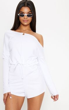 3683ed8c85 White Loop Back Off The Shoulder Playsuit. Shop the range of jumpsuits    playsuits today at PrettyLittleThing. Express delivery available.