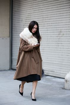 Below-Freezing NYC Street Style That's Still Fire #refinery29  http://www.refinery29.com/2015/02/82279/new-york-fashion-week-2015-street-style-pictures#slide-14  A modern-day lady.