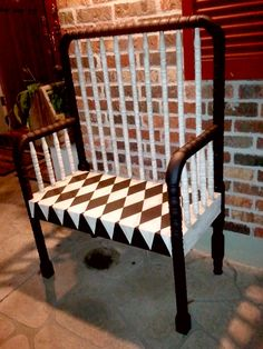 Repurposed crib into benches; painted and antiqued.