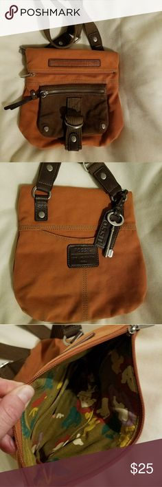 Fossil Key Per Crossbody Orange canvas purse with brown front pocket and strap. Great crossbody purse with plenty of room for your essentials. Fossil Bags Crossbody Bags