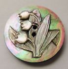 Gorgeous Antique~ Vtg Victorian Carved MOP Shell BUTTON w/ Lily of the Valley
