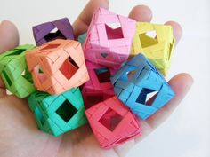 Diamond Window Cube (Modular Origami) tutorial, by sherrycayheyhey. These origami cubes are so cool! Looks like a rather complicated design. Origami Design, Origami And Quilling, Origami And Kirigami, Origami Folding, Paper Crafts Origami, Diy Origami, Origami Flowers, Diy Paper, Oragami