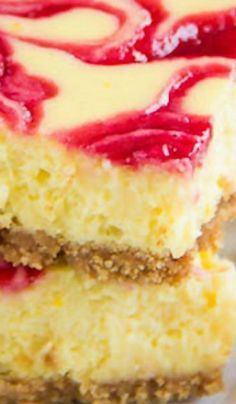 Lemon Raspberry Cheesecake Bars Recipe ~ These soufflé-like lemon raspberry cheesecake bars are amazingly creamy and soft with burst of honey-glazed raspberry sauce Lemon Dessert Recipes, Cheesecake Recipes, Fun Desserts, Delicious Desserts, Yummy Food, Cheesecake Brownies, Homemade Desserts, Sweet Recipes, Yummy Recipes