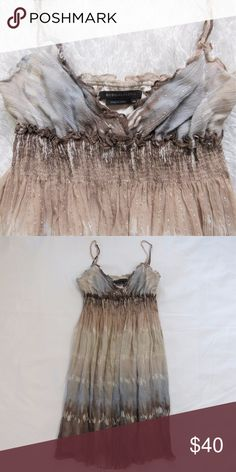 """NWOT BCBGMAXAZRIA Silk Metallic Dress XS New without tags.  Details: - Approx 32"""" length - Stretchy ruched waist  - 97% silk, 3% metallic - 100% silk lining - Dry clean only BCBGMaxAzria Dresses Mini"""