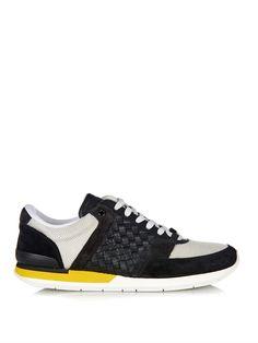 Suede, nylon and leather intrecciato trainers | Bottega Veneta.