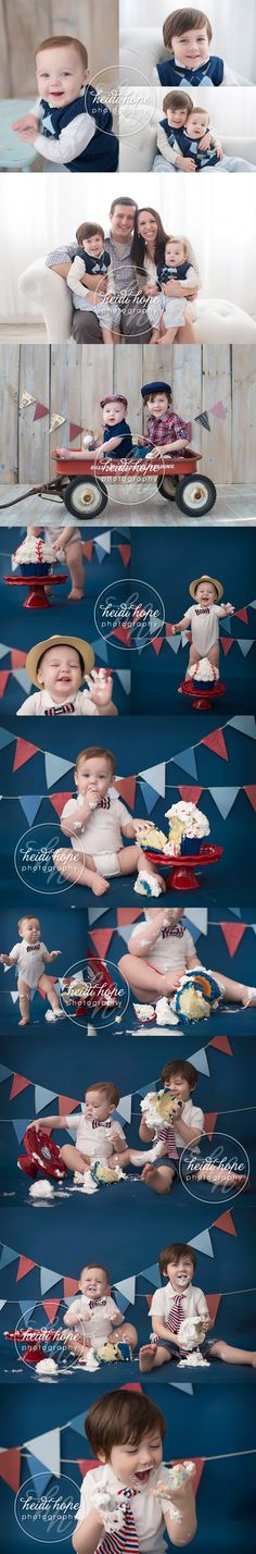 Big brother H shows us how it's done in an all American cake smash for his little brother T!