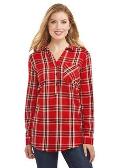 Cato Fashions Plaid Girlfriend Popover Shirt-Plus #CatoFashions