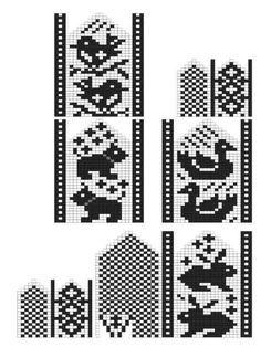 Crochet Mittens Free Pattern, Fair Isle Knitting Patterns, Knit Mittens, Knitting Charts, Knitting Stitches, Knitting Socks, Knitting Designs, Baby Knitting, Cross Stitch Bird