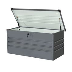 Blooma Metal Garden storage box - B&Q for all your home and garden supplies and advice on all the latest DIY trends Patio Storage, Storage Boxes, Roof Terrace Design, Diy Box, Garden Supplies, Candle Making, Outdoor Furniture, Outdoor Decor, Making Ideas