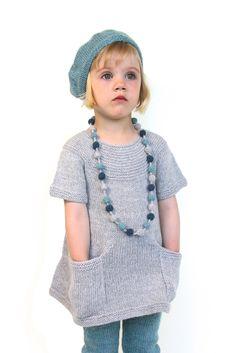 Adele Knitted Girl Dress - Cloud Grey