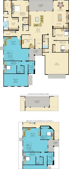 one story house plans with connecting in law suite New House Plans, Dream House Plans, House Floor Plans, The Plan, How To Plan, Multi Family Homes, Home And Family, Home Gym Design, House Design
