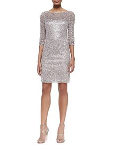 T8RDS Kay Unger New York Sequined Lace-Overlay Cocktail Dress