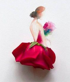 Floral Fashion illustration by Limzy Flower Petals, Flower Art, Flowers, Flower Girls, Art Floral, Floral Fashion, Fashion Art, Paper Fashion, Dress Fashion