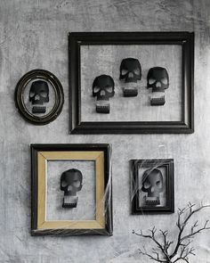 These 3-D skull decorations make festive Halloween Dinner Party guests!