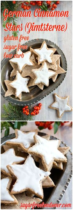 It's time to get festive the healthy way: German Cinnamon Stars AKA Zimtsterne are traditional gluten free German Christmas cookies. This version is sugar free and diabetic-friendly.