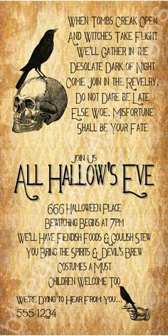 All Hallow's Eve Halloween Party Invitation by BluegrassWhimsy Halloween Party Kostüm, Halloween Quotes, Spooky Halloween, Happy Halloween, Halloween Decorations, Halloween Ideas, Halloween 2020, Halloween Stuff, Vintage Halloween