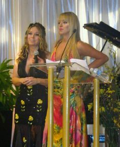 Cher and Sam presenting a donation at the Okanagan Gala for Hope cancer fundraiser