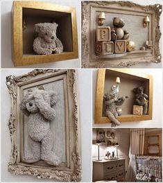 This framed teddy bear idea is just great for a nursery - Möbel - Baby Diy Teddy Bear Nursery, Diy Teddy Bear, Teddy Bears, Teddy Bear Baby Shower, Diy Home Decor, Room Decor, Diy Bebe, Inside Design, Baby Decor