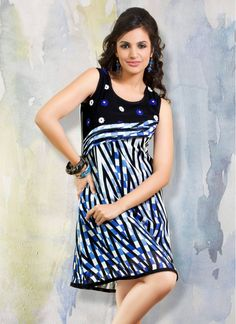 Party Wear Black and Blue Georgette Trendy Tunic