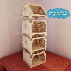 Modular dollhouse with balcony. Pattern for CNC router and laser cutting scale). Laser Cut Plywood, Laser Cutting, Wooden Dollhouse, Diy Dollhouse, Cnc Router, Wooden Castle, Cabin Crafts, Cnc Plans, Router Projects