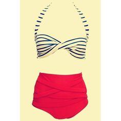 $14.68 Vintage Halter Striped High-Waisted Women's Bikini Set