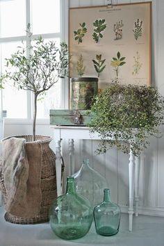 Love the print and lovely arrangement. VIBEKE DESIGN: Rustikk i grønt & skjønt