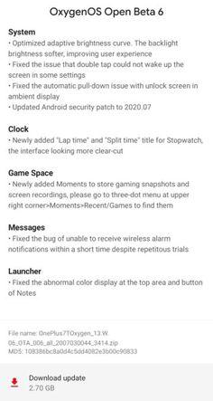 La série OnePlus 7T obtient un correctif de sécurité pour juillet plus via Oxygen OS Beta 6