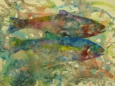 """Japan has an unusual artistic tradition: gyotaku, fish printing. The image above is """"Pisces Indecision,"""" a print by Canadian artist Jeanette Jobson, who extends the technique beyond its traditional boundaries.    Gyotaku began as a means for fishermen to record a catch, but now it is well recognized as an art form."""