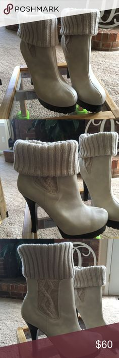 NIB Jennifer Lopez boots NIB Jennifer Lopez boots, can be worn rolled down or up. Super cute, platform heel about a 7 inch heel off white color Jennifer Lopez Shoes Heels