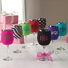 Wine Glass Koozies | #exclusivelyweddings | #bridesmaidgifts