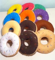 gorgeous felt food 12 donut set pincushion toys lots of flavours