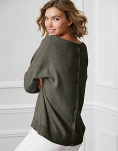 93ab7e7807 Button Back Jumper with Cashmere | Jumpers | The White Company UK Mother Of  Pearl Buttons