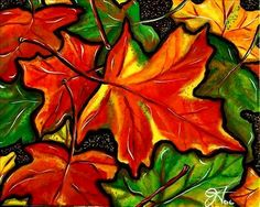Colorful Maple leaves in fall colors of reds, orange, yellow and greens. Bright painting by Jackie Carpenter