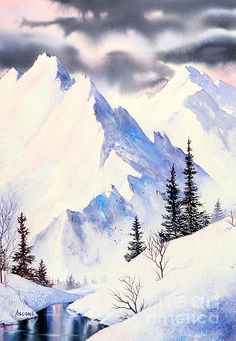 Winter Serenity.  watercolor, 22 x 30 Water Colour Ideas, Water Colour Art, Water Colour Tutorial, Water Colour Painting Ideas, Poster Color Painting, Mountains Watercolor, Watercolor Leaves, Simple Watercolor, Watercolor Paintings