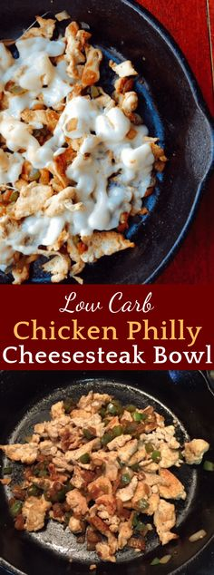 Low Carb Chicken Philly Cheesesteak Bowl #LowCarb #Chicken