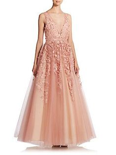 Basix Black Label Floral Applique Gown  Comes in champagne from Saks
